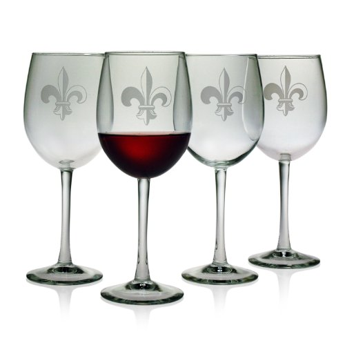 Susquehanna Glass Fleur De Lis Sand Etched Wine Glasses, Set of 4, 16 ounces