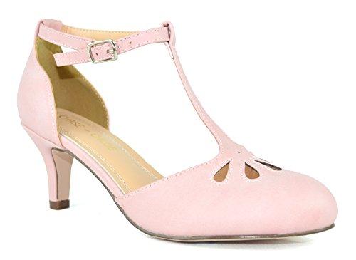Chase & Chloe Kimmy-36 Womens Teardrop Cut Out T-Strap Mid Heel Dress Pumps Rose Pink Pu Low xLkKf6zq7