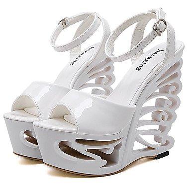 LvYuan Mujer-Tacón Cuña-Zapatos del club-Sandalias-Vestido-Cuero Patentado-Blanco Plata Silver