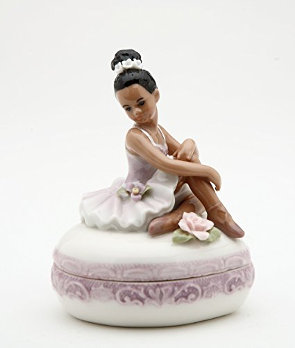 (Cosmos Gifts 10599 Fine Porcelain African American Ballerina Ballet Dancer Girl Purple Tutu Dress Heart Shaped Trinket Keepsake Box, 3 5/8