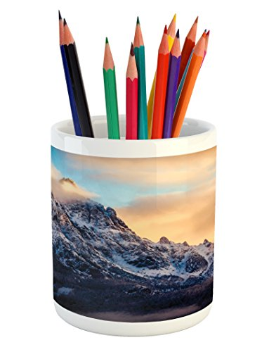 Lunarable Mountain Pencil Pen Holder, Rising Sun at The Alps Snowy Scene Pine Tree Forest on Piedmont Natural Paradise, Printed Ceramic Pencil Pen Holder for Desk Office Accessory, Peach Blue