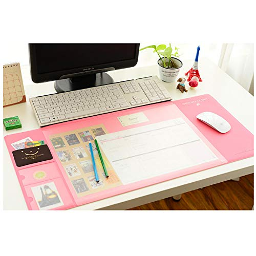 STAR-TOP Desk MAT Large Size Mouse pad,Anti-Slip Desk Mouse Mat Waterproof Desk Protector Mat with Smartphone Stand, Pockets, Dividing Rule, Calendar and Pen Groove (Office-Pink)