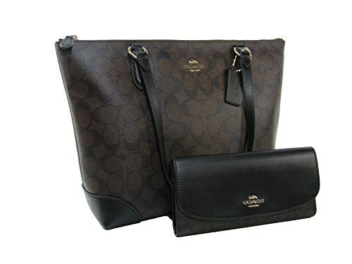 New Coach C Signature Purse Hand Bag & Wallet Matching 2 Piece Set Black Brown