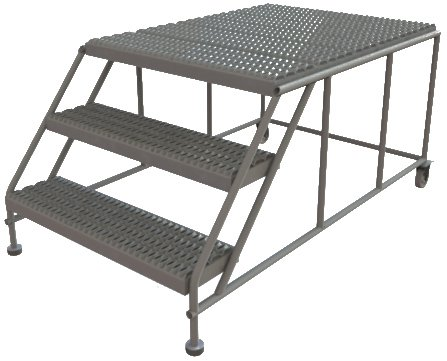 Tri-Arc WLWP033648 3-Step Forward Descent Mobile Steel Work Platform, 36-Inch x 48-Inch Platform