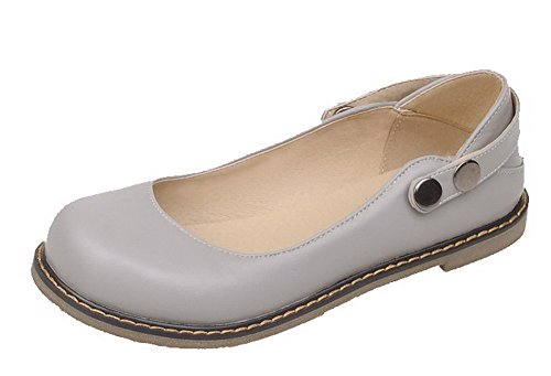 VogueZone009 Women's Button Round-Toe Low-Heels PU Solid Pumps-Shoes Gray xZZeU