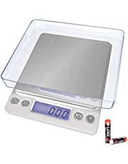 Kitchen Scale,Digital Pocket Food Scale,Multifunction with LCD Display, 3000g/ 0.1g for Home Cooking, Personal Nutrition, Jewlery, Lab, 2 Trays in Box(Battery Included)