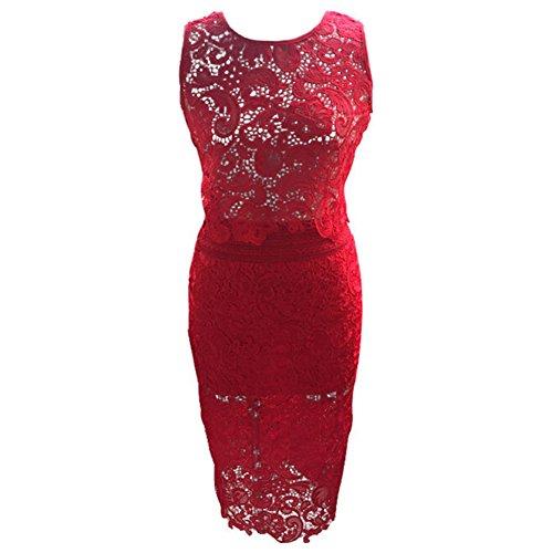 hibote Mujer de encaje de ganchillo mini vestido de cubrir la parte superior del chaleco bralet Rojo
