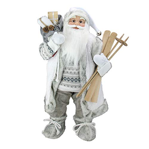 Northlight 24″ Classic Skiing Pure White and Gray Standing Santa Claus Christmas Figure Review