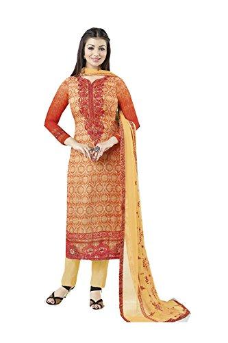 Traditonal Facioun Progettista Donne Arancione Etnica Kameez Partywear Da Indiane Salwar 0Pfdwd1x