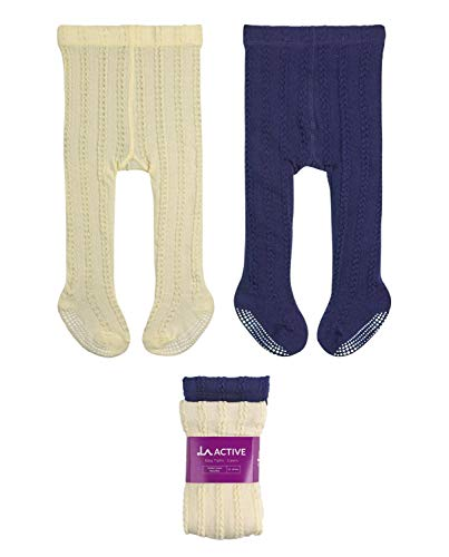 LA Active Baby Tights - 2 Pairs - Non Skid/Slip Cable Knit (Cream & Navy, 12-24 Months)