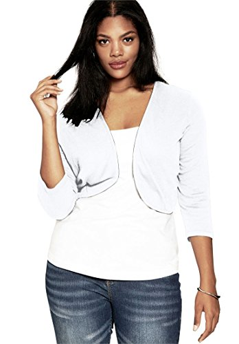 Roamans Women's Plus Size Cropped Bolero Cardigan White,3X (Womens Roamans Suit Pant)