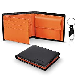 TEEHON® Wallets Mens Slim RFID Blocking Genuine Leather with Coin Pocket, 2 Banknote Compartments, 10 Credit Card Holders(ID Window), Key Holder. Wallet for Men with Gift Box-Black & Orange