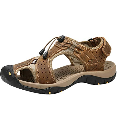 Summer Outdoor Mens Leather Flats Casual Beach Shoes Breathable Sport Sandals Khaki (Leather Sandals Guess Patent)