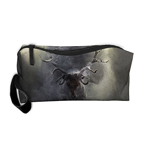 Cosmetic Bags With Zipper Makeup Bag Nature Paintings Smoking Deer Middle Wallet Hangbag Wristlet -