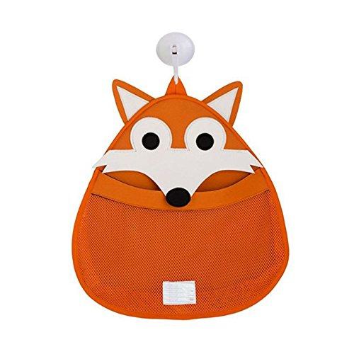 APig Cartoon L'organisateur de jouets de bain pour bébés comprend une forte tasse d'aspiration, 37x38 cm - Orange Fox