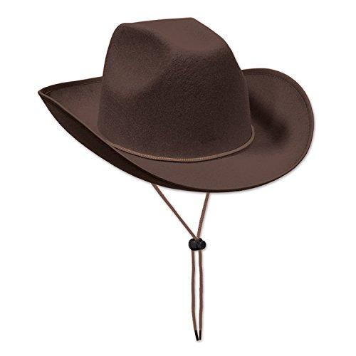 Beistle Brown Felt Cowboy Hat, Brown