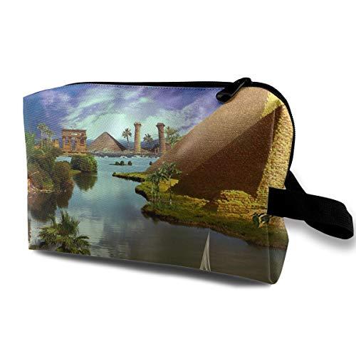 (Makeup Bag Cosmetic Pouch Travel Handbag Pyramids Toiletry with Zipper)