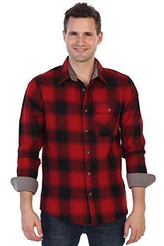 Gioberti Men's 100% Cotton Brushed Flannel Plaid Checkered Shirt with Corduroy Contrast, Black/Red Gradient, Large]()