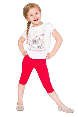 hi!mom Girls Cropped Cotton Leggings Basic Plain Kids Capri Pants Age 2-13 Red ()