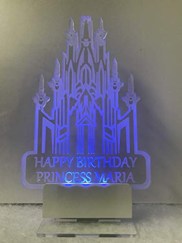 Frozen Castle Inspired Cake Topper, Personalized, in Acrylic and LED Light multicolored 7 different colors -