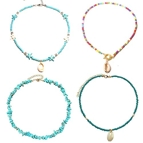 WAINIS 4 Pieces Shell Choker Necklaces for Women Girls Boho Beaded Multicolored Rainbow Dainty Beach Necklace Jewelry