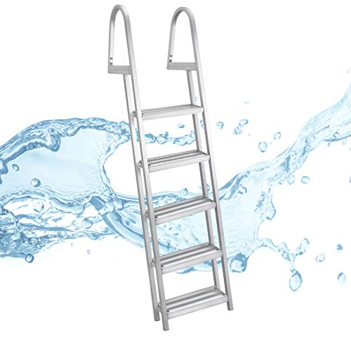 - RecPro 5 Step Removable Boarding Boat Ladder | AL-A5 | Marine Pontoon Boat Dock | Heavy Duty Aluminum