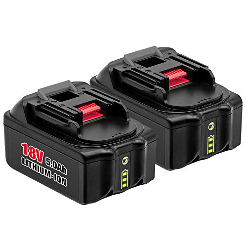 2Pack 5000mAh BL1830 18V Battery with LED Indicator for Makita Lithium ion Replacement BL1830B BL1850B BL1860B BL1840 BL1845 BL1820 LXT400 194204-5 Cordless Power Tools