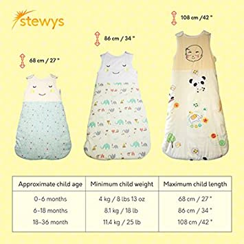 90cm Soft and Cosy for Baby boy or Baby Girl Swaddle Sleep Sack-Animal Print 100/% Cotton Newborn Sleeping Bag Baby Wearable Blanket with Secure Zipper Stewys Baby Sleeping Bag 2.5 tog 6-18 Months