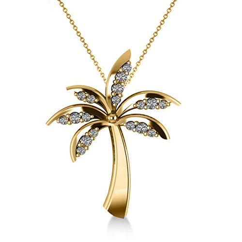 Allurez Diamond Tropical Summer Palm Tree Pendant Necklace in 14k Yellow Gold (0.24ct) by Allurez