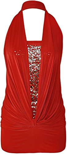 - Ladies Sequin Halter Neck Ruched Boob Tube Womens Stretch Sleeveless Top