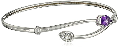Sapphire Sterling Silver Bangles (Sterling Silver Amethyst Pear and Created White Sapphire Flex Bangle Bracelet)