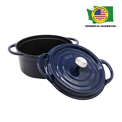 Cast Iron Dutch Oven Enameled Casserole Pot with Lid Ceramic Cookware 6 Quart Navy T&H Danc