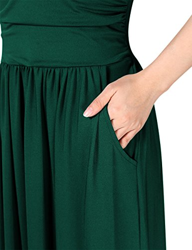 Dress Green Maxi With Party Womens Strapless GloryStar Casual Pocket Ruched Dark xwvOYnq6