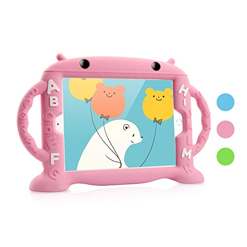 iPad Air 2 / Air 1 & 2018/2017 Case Kids, Dwopar Soft Silicone Kids Proof Case Carrying Handle Shockproof Waterproof Protective Cover Apple ipad Air1/2 New iPad 2018/2017 - Pink