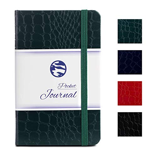 Pocket Notebook | Journal by CAMOLEAF - 3.5 x 5.5 - Small/Mini Size - Hardcover Crocodile Faux Leather Textured - Premium Thick Acid-Free Ivory Paper - Lightly Ruled - (Green)