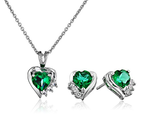 Sterling Silver Simulated Emerald Heart with Created White Sapphire Pendant Necklace and Earrings Box Set, 18'' by Amazon Collection