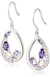 Sterling Silver Tonal Amethyst and White Topaz Dangle Earrings