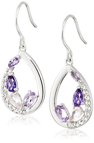 Sterling Silver Genuine Amethyst, Rose Quartz, and White Topaz Teardrop Dangle Earrings (Cluster Rose Earrings Quartz)