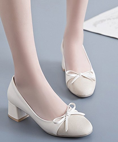 Beige Toe Aisun Mode Chunky Cap Femme Bureau Escarpins 001xnT4
