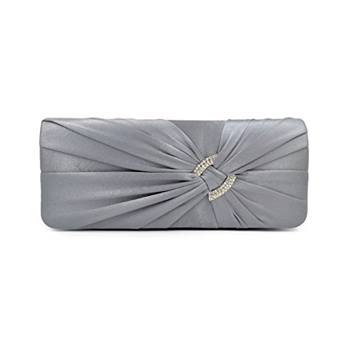 Premium Oval Rhinestone Pleated Satin Clutch Evening Bag Handbag, Grey (Gray Rhinestone)