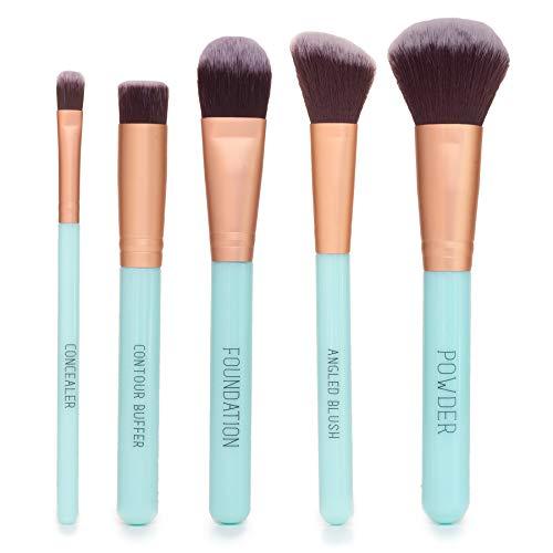 Nicole Miller Makeup Brush Collection, 5 Piece Makeup Brush Gift Set, Powder Brush, Foundation Brush, Concealer Brush…
