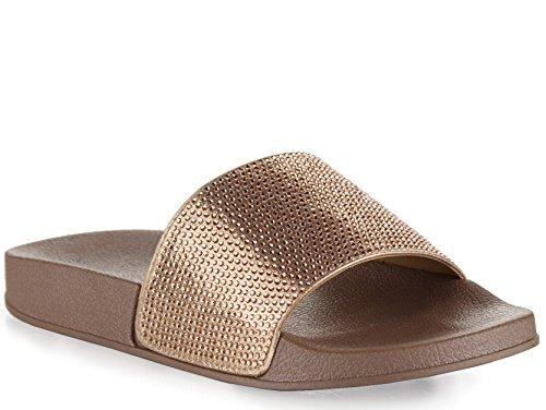 ROF Rhinestone Embellished Single Band Slide Sandals - KA06 ROSE GOLD GLT (7)