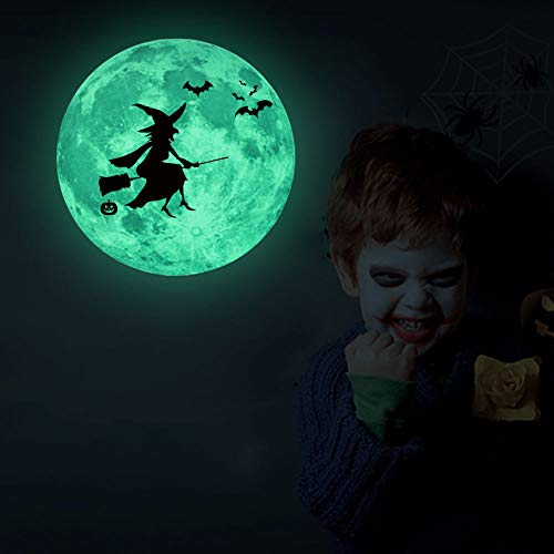 Moon Fluorescent Wall Sticker Removable Glow in The Dark Sticker for Kids Bedroom Ceiling Halloween Moon Decor (Witch)]()