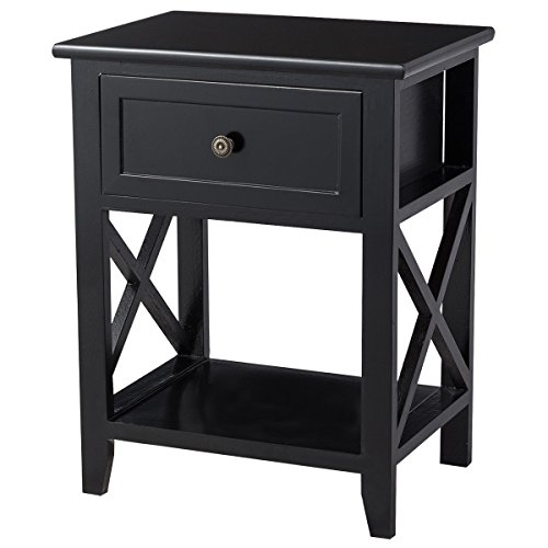 Giantex Wooden Nightstand W/Drawer and Bottom Open Shelf Stable Frame for Bedroom Home Furniture X-Shape, Black End Bedside Table