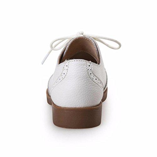 Femme Blanc Chaussures Lacets à Derbies en Véritable Moonwalker Cuir 64RwzR