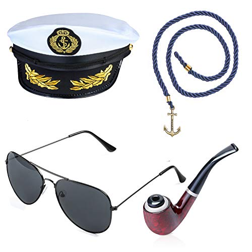 Beelittle Yacht Captain Hat Costume Accessories Set Adjustable Boat Sailor Ship Skipper Cap Aviator Sunglasses Tobacco Pipe with Anchor Design Accessories (C)]()