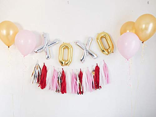 XOXO Balloons, XOXO Balloons Valentines Day Tassel Banner Party Decorations for Galentines Bridal Shower Bachelorette Wedding Anniversary Engagement Party Supplies Photo Props 33PCS Kit of Qinsly