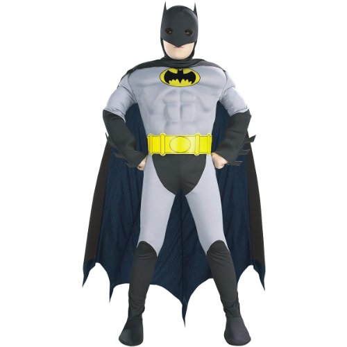Hero Villain Halloween Costumes (Rubie's DC Comics Batman Muscle Chest Costume, Small)
