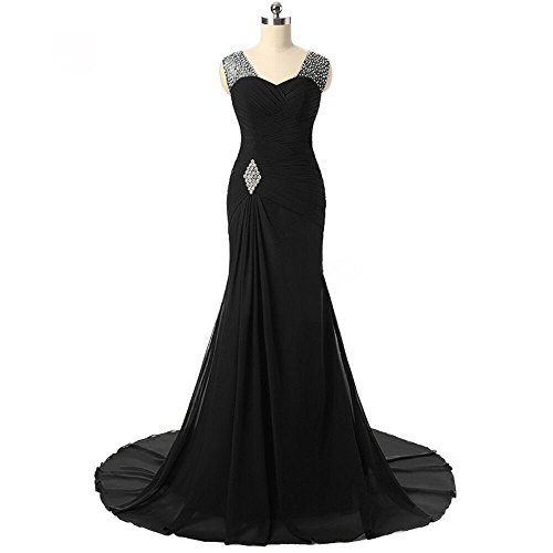 [Ladies Delicate Beading Military Ball Red Carpet Dance Wearing Dress Black,6] (Military Style Dance Costumes)