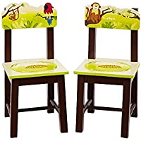 Guidecraft Wood Hand-painted Jungle Party Extra Chairs (Set of 2) G86903